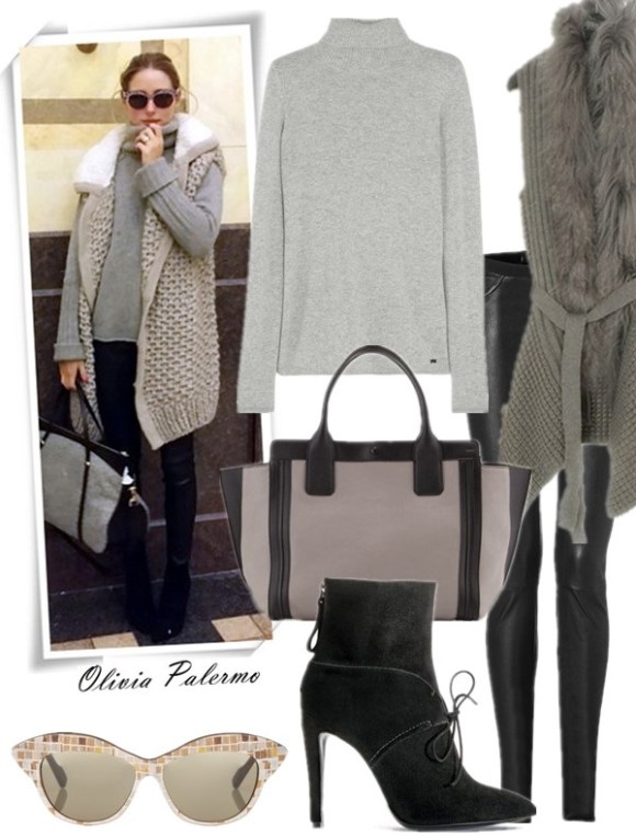 how to wear hooded cardigan sweater, Olivia Palermo, Nicole Richie, street style, skinny jeans, leather pants, ankle boots, Givenchy Nightingale,Balenciaga, trendy sunglasses, Striped sweater, chloe  On Olivia Palermo: Philosophy vest, a Zadig & Voltaire sweater, JBrand pants, Giorgio Armani booties, a Chloé bag, and sunglasses.  Featured:  Sweater: BANJO & MATILDA Cashmere turtleneck sweater, Vest: SHINN From South Korea Faux-Fur Trim Open-Front Knit Vest with Sash,  Pants: Helmut Lang Stretch Leather Pants,  Bag: Chloé 'Alison' Leather Tote,  Shoes: Giorgio Armani Suede Ankle-Tie Bootie,  Sunglasses: Wunderkind Brown Mosaic Cat-Eye Sunglasses,