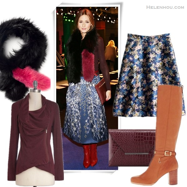 how to wear fur stole, fashion week front row style, how to wear prints,     OLIVIA PALERMO At the Peter Pilotto fall/winter 2014 show:  oxblood long-sleeve top, Charlotte Simone fur stole, burgundy clutch, Peter Pilotto printed skirt,  Christian Louboutin brown boots,  Aquazzura Positano Snakeskin Pumps   OLIVIA PALERMO at the Whistles presentation: black double breasted coat, Charlotte Simone fur stole, leather pants, Rails Hunter Plaid Shirt, Aquazzura Positano Snakeskin Pumps,   Featured:  From left to right:  Charlotte Simone Orange Fur Popsicle Stole  ModCloth Airport Greeting Cardigan in Burgundy  Jcrew COLLECTION CIRCLE SKIRT IN NIGHTGARDEN FLORAL (on Olivia Palermo here; also adore this one for the scalloped hem, embroidered cutouts and metallic accents)  MICHAEL Michael Kors Arley Boot (anther great buy here)  BCBGMAXAZRIA Crocodile-Embossed Envelope Clutch, Burgundy (or this one)