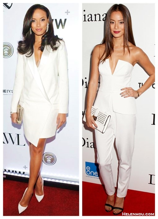 How to wear head to toe white; How to Wear Menswear; party outfit idea 2014,    Selita Ebanks, Jamie Chung, white Tuxedo Dress, white pump, white pants, metallic clutch, peplum top,  On Selita Ebanks at KWL's 4th Annual Sports and Entertainment Celebration: Haute Hippie Sexy Tuxedo Dress,   On Jamie Chung: white strapless plunging top, tapered pants, Rebecca Minkoff coco studded falp clutch, black strappy heels, gold bracelet and Marti Zoe midi rings.