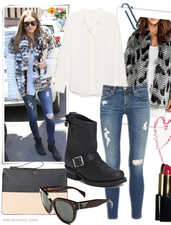 how to wear faux fur coat,   On Olivia Palermo: AG Adriano Goldschmied The Legging Ankle jeans, Report Women's Juliee Bootie, fur coat,   Featured:  Clockwise from top left:  Shirt: Equipment Brett Shirt  Jacket: BSABLE Chelsea Faux Fur Jacket in Black  Lip: Estée Lauder Pure Color Envy Sculpting Lipstick in Tumultuous Pink  Jeans: AG Adriano Goldschmied The Legging Ankle jeans (20% off with BIGEVENT14; more sizes here)  Boots: Frye Engineer 8R Boots (20% off with BIGEVENT14 here)  Sunglasses: Prada 54mm Cat Eye Sunglasses.  Clutch: Ann Taylor Large Colorblock Clutch