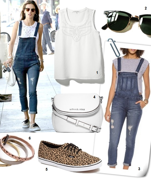 How to Wear denim overalls Now and Later,  On Alessandra Ambrosio: One by Black Orchid Denim Overalls Ale by Alessandra Daisy Chain Tank Givenchy Small Pandora Bag Vans Authentic Sneakers, Ray-Ban Foldable Clubmaster Sunglasses Featured:  1. COLLECTIVE CONCEPTS Cut Out Tank 2. Ray-Ban Foldable Clubmaster Sunglasses 3. ONE by Black Orchid Skinny Overalls in 'Die Another Day' 4. MICHAEL Michael Kors Flap Crossbody Bag (on Alessandra Ambrosio here) 5. Vans 'Authentic - Lo Pro' Sneaker (Women) 6. House of Harlow 1960 Santorini Stack Bangle Set