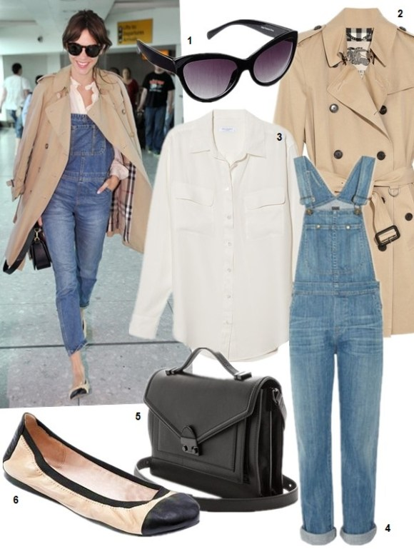 How to Wear denim overalls Now and Later,  On Alexa Chung on London's Heathrow Airport: cap-toe ballet flat,  denim overalls, white long-sleeved blouse, tan trench coat ,Round oversize sunglasses, black structured bag, Featured:  1. Elizabeth and James Lafayette Cat Eye Sunglasses (more colors here) 2. Burberry London Cotton-twill trench coat (great alternative here & here) 3. Equipment SLIM SIGNATURE BLOUSE in natural white 4. Citizens of Humanity 'Drama Quincy' Overalls (also here; great style on sale here) 5. Loeffler Randall Rider Bag (more fun colors and prints here) 6. Vince CamutoVINCE CAMUTO CAP TOE BALLET FLATS - ELISEE (extra 15% off here with 'WKND' )