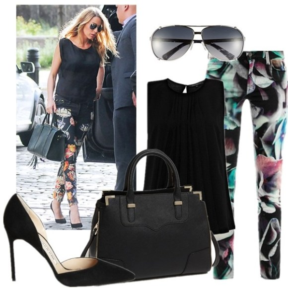 How to Wear Floral Print to the Office,  On Blake Lively: Mother The Looker Print Skinny Jeans,  black top, aviator sunglasses, black top, black pump,   featured: Sunglasses: Christian Dior Dior 'Chicago' 63mm Metal Aviator Sunglasses  Jeans: J Brand 620 Hydrangea-print skinny jeans (love this one for the leg slimming effect here)  Top: French Connection POLLY PLEAT TOP  Bag: Rebecca Minkoff 'Amorous' Satchel  Shoe: Manolo Blahnik 'Tayler' d'Orsay Pump (also here; similar here)