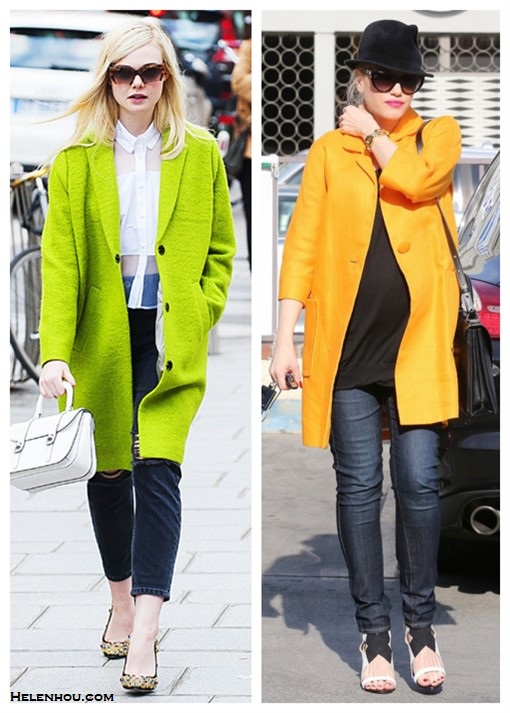 2014 spring coats; How to wear a bright coat; Celebrity Maternity Style,    On ELLE FANNING Paris Fashion Week: Christopher Kane sheer button up shirt,  Miu Miu 56mm Sunnies, Miu Miu 'Madras' shoulder bag, Miu Miu 'Donna' jeweled pumps, Topshop Oversized Wool Boyfriend Coat On Gwen Stefani: orange coat, skinny jeans,heels, fedora, cat eye sunglasses.