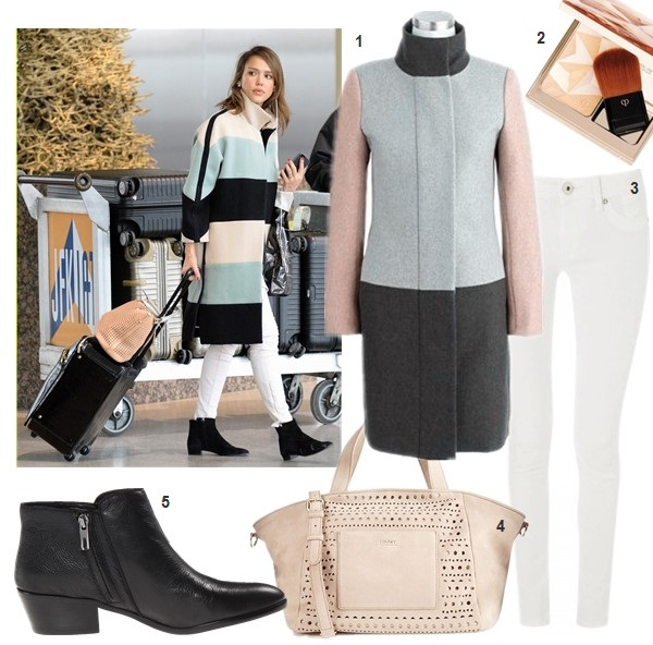 What to wear in the snow and cold weather,  On Jessica Alba: chloe striped colorblock coat, white skinny jeans, ankle boots, chloe perforated tote.  Featured:  1. J.Crew COLORBLOCK FUNNELNECK COAT  2. Clé de Peau Beauté Luminizing Face Enhancer in Gold,  3. DL1961 Angel Ankle Jeans (similar here)  4. DKNY PERFORATED TOTE (on Jessica Alba here)  5. Sam Edelman 'Petty' Bootie black (another great comfy options with kitten heel here)