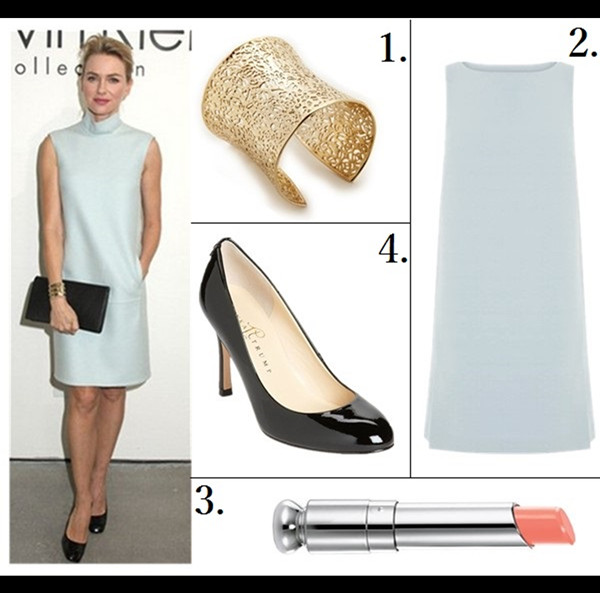 How to wear pastels;   Naomi Watts. Calvin Klein Collection show - February 13,2014: ice blue mock neck sheath dress, black pump and clutch, gold cuff.   featured:  1. Kendra Scott 'Ainsley' Cuff  2. Warehouse Cocoon Shift Dress (also love this lace version)  3. Dior (Beauty) 'Addict' Lipstick in 'Charmante'  4. Ivanka Trump 'Janie' Pump (another great buy here)