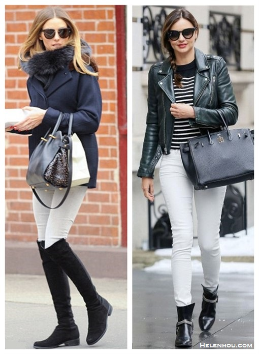 How to wear white jeans; Transitional Dressing,   On Olivia Palermo March 23 2014: Stuart Weitzman Suede over-the-knee boots, Dior Black Tie 143S sunglasses, Nina Ricci Marche bag;    On Miranda Kerr: T by Alexander Wang stripe top, Saint Laurent Rock leather ankle boots, Saint Laurent leather biker jacket, Hermes birkin bag, white jeans.
