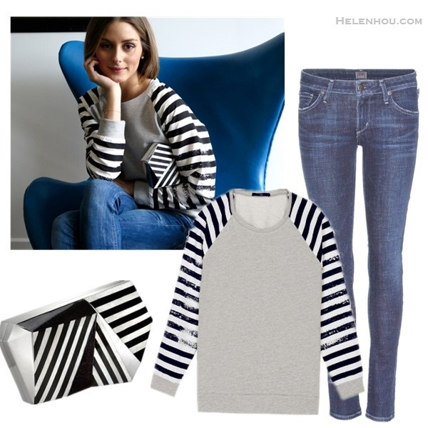 Olivia Palermo instagram style,  On Olivia Palermo: Tibi DISTRESSED STRIPE SWEATSHIRT, blue skinny jeans, Rafe Azura Asymmetric Striped Minaudiere;   From left to right:  Rafe Azura Asymmetric Striped Minaudiere  Tibi DISTRESSED STRIPE SWEATSHIRT (similar here)  Citizens of Humanity Racer Lowrise Skinny Jeans (also love the high waist version)