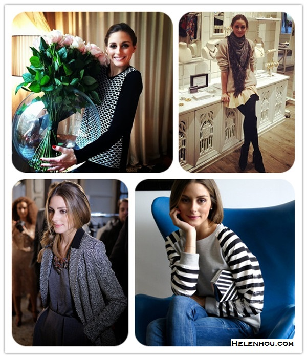 Olivia Palermo instagram style,   On Olivia Palermo:Tibi Intarsia cotton and modal-blend sweater, hudson side stripe jeans;  On Olivia Palermo: beige sweater, flared skirt, ankle boots, fringe scarf;  On Olivia Palermo: Tibi DISTRESSED STRIPE SWEATSHIRT, blue skinny jeans, Rafe Azura Asymmetric Striped Minaudiere; On Olivia Palermo:barblebar collar necklace, grey contrast collar blazer, grey dress, thigh high boots.