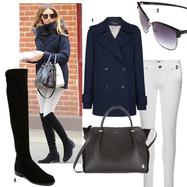 How to wear white jeans; Transitional Dressing;  On Olivia Palermo March 23 2014: Stuart Weitzman Suede over-the-knee boots, Dior Black Tie 143S sunglasses, Nina Ricci Marche bag;   featured: 1. Mango peacoat  2. MICHAEL Michael Kors 'Griffin' 60mm Retro Sunglasses (on Olivia Palermo here)  3. Paige Denim 'Skyline' Ankle Peg Skinny Jeans (Optic White) (supper comfy and petite friendly! similar here)  4. Nina RicciLEATHER TOTE (similar here  & here)   5. Stuart Weitzman '5050' Over the Knee Suede Boottuart Weitzman (50% off here! similar here & here)