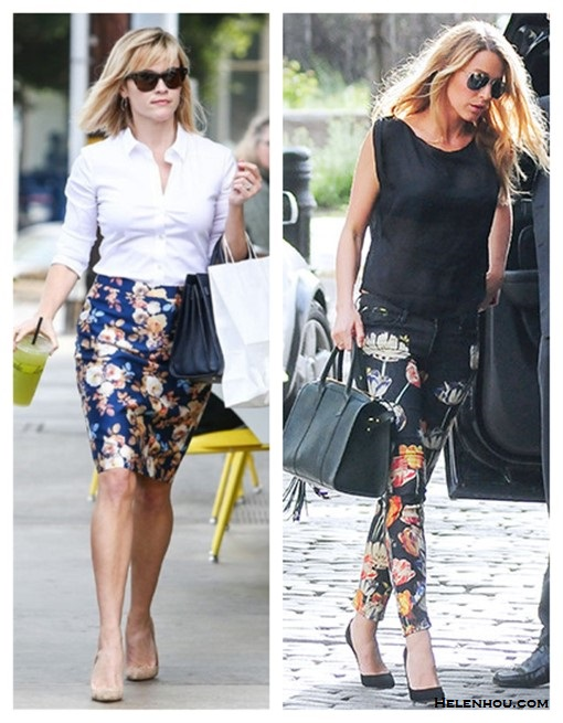 How to Wear Floral Print to the Office,     On Reese Witherspoon: white button up shirt, j crew floral no.2 pencil skirt,nude pump,  Ray-Ban 'Classic Wayfarer XL' 54mm Sunglasses, Saint Laurent Sac de Jour Small Carryall Bag,   On Blake Lively: Mother The Looker Print Skinny Jeans,  black top, aviator sunglasses, black top, black pump,