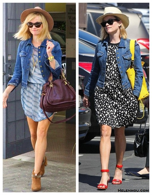 How to wear a denim jacket; The Spring 2014 Backpack trend,  On Reese Witherspoon (left): Isabel Marant Étoile Zaggy Stripey Chiffon Dress, Current Elliott The Snap denim Jacket , Chloe 'Medium Paraty' Leather Satchel , Ray-Ban Wayfarer Sunglasses, Rag & Bone Harrow Nubuck Ankle Boot, STRAW FEDORA HAT ;  On Reese Witherspoon (right):ELIZABETH AND JAMES Sling textured-leather backpack, STRAW FEDORA HAT, Ray-Ban Wayfarer Sunglasses, Sea black and white dot printed dress, red ankle strap sandals;