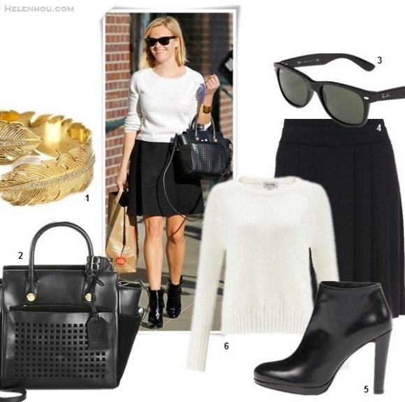 Cute Skirt And Sweater Street Style Combinations,   On Reese Witherspoon: Jenni Kayne sweate Theyskens' Theory Swick Skirt Reed Krakoff Bionic Mini Atlantique Bag Gianvito Rossi Patent Cuffed Ankle Boots XPOSUREPHOTOS  featured:  1. Melinda Maria feather cuff (similar here)  2. Reed Krakoff Bionic Mini Atlantique Bag (last seen her carrying here; great alternative here)  3. Ray-Ban 'New Wayfarer' 55mm Sunglasses  4. Eileen Fisher Pleated Skirt  (also love this petite friendly version)  5. Stuart Weitzman Gran  6. Svek White Cotton Mismatched Knit (great buy here)