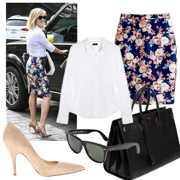 How to Wear Floral Print to the Office,  On Reese Witherspoon: white button up shirt, j crew floral no.2 pencil skirt,nude pump,  Ray-Ban 'Classic Wayfarer XL' 54mm Sunglasses, Saint Laurent Sac de Jour Small Carryall Bag,   featured: Skirt: 3. J.Crew No 2. pencil skirt (last seen here)  Shirt: Theory white strechy shirt ($74 here)  Bag: Saint Laurent Sac de Jour Small Carryall Bag (great alternative here)  Sunglasses: Ray-Ban 'Classic Wayfarer XL' 54mm Sunglasses  Shoes: kate spade new york 'licorice too' pump (on sale! more spring colors here!)