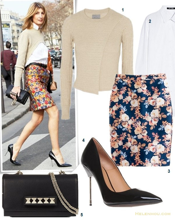 How to wear florals, spring outfit ideas 2014,  On Sarah Rutson: crop sweater, celine floral pencil skirt, black pump, Valentino studded clutch,    Featured:  1. MAIYET Textured-cashmere sweater (similar under $20 here & here)  2. BLK DNM 50 cotton-poplin shirt  3. Jcrew. COLLECTION NO 2. PENCIL SKIRT IN ANTIQUE FLORAL (adore this one for the body sliming effect)  4. Kurt Geiger London 'Britton' Pump (love the design! also adore them in leopard!)  5. Valentino Vavavoom clutch (similar here) On Gisele Bundchen: white blazer, zara floral pants, Dolce & Gabbana red sandal, aviator sunglasses;