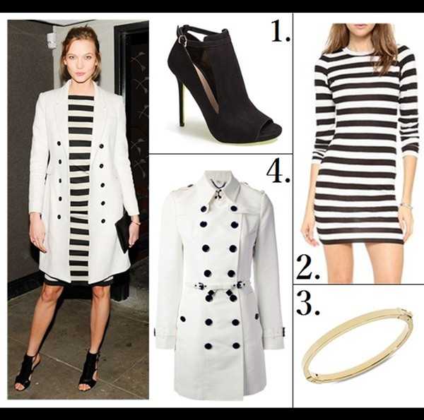 Parisian Style; Trench Coat Outfit Ideas; Karlie Kloss at J.Crew party, New York – March 26 2014: wearing jcrew white coat, striped dress, cutout booties, gold accessories.    featured: 1. Carvela Kurt Geiger 'Glance' Cutout Bootie (great style here!)  2. Pencey Mesh Back Stripe Dress  3. Michael Kors Thin Hinged Bangle Bracelet  4. Burberry London Double Breasted Trench Coat (alternative here & here)