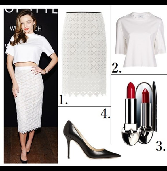 how to wear crop tops, how to wear head to toe white,   On Miranda Kerr: Jenni Kayne white lace pencil skirt, white crop top, Christian Louboutin pump, Prada Saffiano Promenade Bag,   Featured: 1. ERDEM Aysha diamond lace pencil skirt (similar here; on Miranda Kerr here)  2. 3.1 Phillip Lim Cropped Boxy Tee ($20 here)  3. Guerlain 'Rouge G de Guerlain' Lipcolor  4. Jimmy Choo 'Abel' Pump (Exclusive Color) (great buy here)