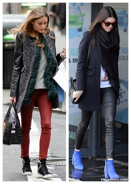 how to wear leather pants,  Cold-Weather Outfit Ideas,    On Olivia Palermo: Zara Coat with Leather Sleeve, Moncler Amelle Vest, Givenchy Black Leather Croc-Embossed Antigona Duffle Bag, Topshop Moto Red Coated Leigh Jeans, Zara Leather Sneaker Boots with Edging;  On Kendall Jenner:  blue suede ankle boots from TOPSHOP, black leather pants, black coat and black Celine crossbody bag