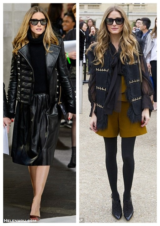 how to wear a leather skirt, how to wear a jumper,     On Olivia Palermo: at London Fashion Week, wearing Westward Leaning sunglasses, Boda leather jacket, Reiss skirt, Christian Louboutin heels, and a Whistles clutch.   On Olivia Palermo: Westward Leaning sungalsses, Chloe crossbody bag, Rebecca Minkoff Gio Too Studded Bootie Pump, black sheer blouse,