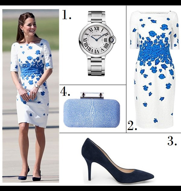 Helenhou.com-Kate Middleton at australian on Drop Pendant Necklace, Cartier Watch, L.K. Bennett white and blue Floral Occasion Dress, blue Clutch,suede pump