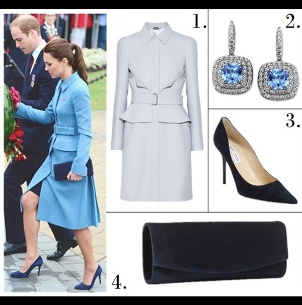Royal Style, Office Outfits, Formal Wear, colored coats,  1. Alexander McQueen belted crepe coat (similar here & here)  2. Arabella    Sterling Silver Earrings, Blue and White Swarovski Zirconia Cushion Cut Earrings  3. Jimmy Choo 'Abel' Pump (similar here & here)  4. Stuart Weitzman 'Muse' clutch (on sale!)