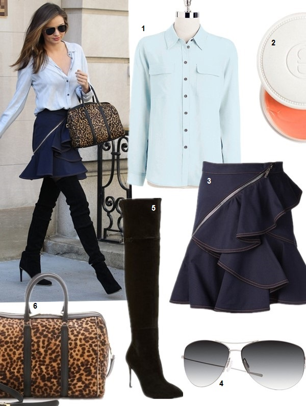 Helenhou.com-Miranda Kerr, Givenchy denim Ruffled Skirt, A.L.C. Leopard Satchel, balmain thigh high boots, Oliver Peoples Aviator Sunglasses2