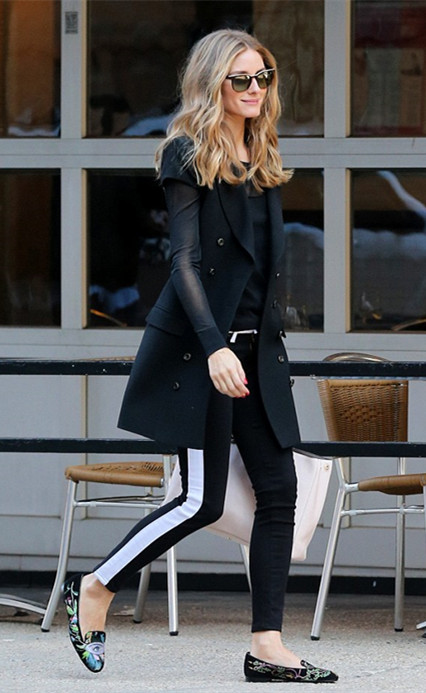 How to wear black and white,   On Olivia Palermo March 31 2014: Rachel Zoe short sleeve coat, Christian Dior lady dior white purse, Hudson side stripe Jeans, Ralph Lauren Black Long-Sleeved Mesh Top.