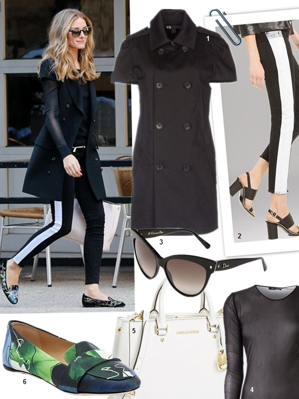 How to wear black and white,   On Olivia Palermo March 31 2014: Rachel Zoe short sleeve coat, Christian Dior lady dior white purse, Hudson side stripe Jeans, Ralph Lauren Black Long-Sleeved Mesh Top.  1. Y-3 Full-length jacket black (similar here)  2. Sandro Tuxedo Stripe Pants (similar here & here)  3. Dior (Beauty) 'Mohotani' 58mm Cat Eye Sunglasses  4. BLK DNM Sheer Mesh Top (also here)  5. MICHAEL Michael Kors 'Medium Sutton' Saffiano Leather Satchel (on Olivia Palermo here)  6.  Reed Krakoff Abstract-Print Leather Loafers (similar here)
