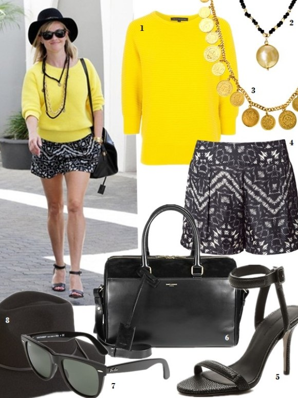 Reese Witherspoon wearing Alexander Wang Antonia Sandals in Black French Connection Summer Mozart Ribbed Sweater in Bright Citronella. Reese Witherspoon Beverly Hills April 7 2014.  1. French Connection Summer Mozart Ribbed Sweater in Bright Citronella 2. EFFY 14Kt. Yellow Gold Freshwater Pearl Coin Necklace  Ben-Amun Long Gold Coin Necklace 3. Ben-Amun Long Gold Coin Necklace 4. SanctuarySANCTUARY - SOFT SKORT (TRIBAL PRINT) - APPAREL (also on sale here!) 5. Alexander Wang Antonia Ankle Strap Sandals (similar here) 6. Sanit Laurent dufle 6 satchel (great alternative here & here) 7. Ray-Ban 'Classic Wayfarer' 50mm Sunglasses 8. Brixton 'Wesley' Wool Fedora