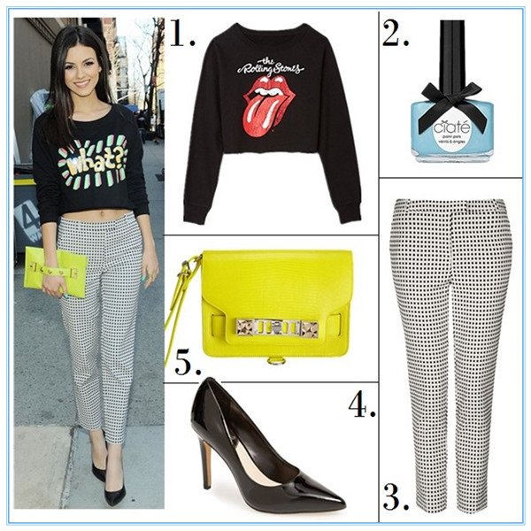 Helenhou.com-Victoria Justice Topshop Gingham Trousers, Danielle Nicole Tina  Clutch,graphic crop top, April 24 2014.