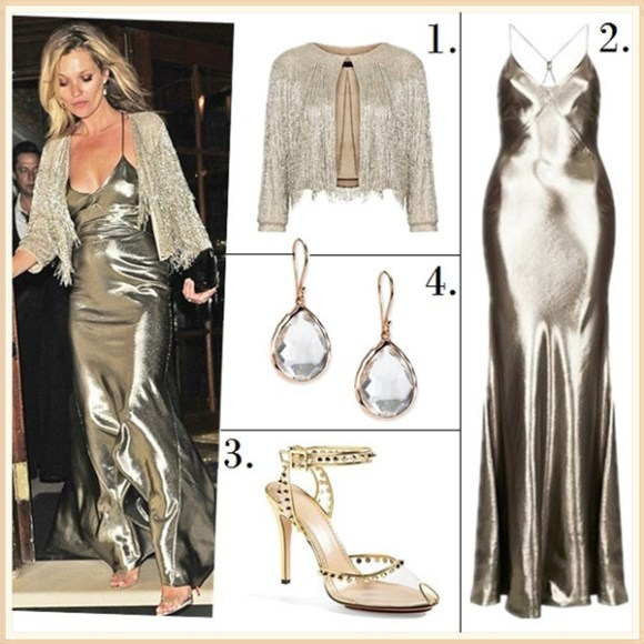 Helenhou.com-metallic bias cut slip dress, kate moss for topshop collection, Beaded Fringe Jacket, Christian Louboutin Icone A Clous Sandals