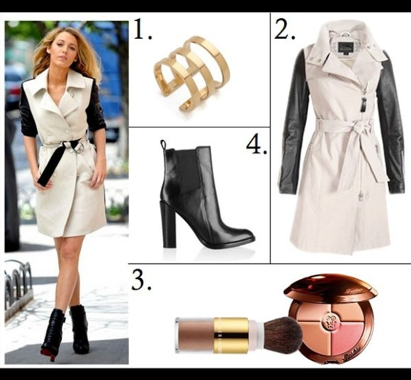 Trench coat outfit 2014 Featured:  1. Jennifer Zeuner Jewelry Yvette 3 Band Ring  2. Mackage Avra Leather-Sleeve Trenchcoat (in beige here; similar here)  3. Guerlain 'Terracotta Four Seasons' Bronzer AERIN Beauty Pretty Bronze Portable Illuminating Powder, Sunshine  4. Alexander Wang Thea Chelsea Booties (also here; another great buy here)