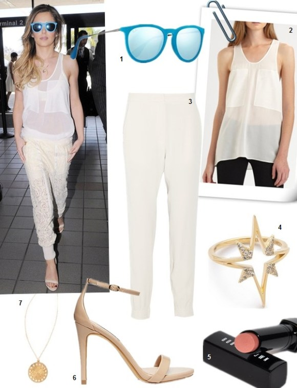 Spring/Summer Outfits 2014 Featured: 1. Ray-Ban Erika round-frame velvet mirrored sunglasses (more colors here!)  2. T by Alexander Wang Silk & Chiffon Combo Tank, White (on sale! also here)  3. Vanessa Bruno Arthur crepe tapered pants  4. Elizabeth and James Astral Ring  5. Bobbi Brown Creamy Lip Color in Nectar  6. Steve Madden STECY  7. Gorjana Circle Necklace