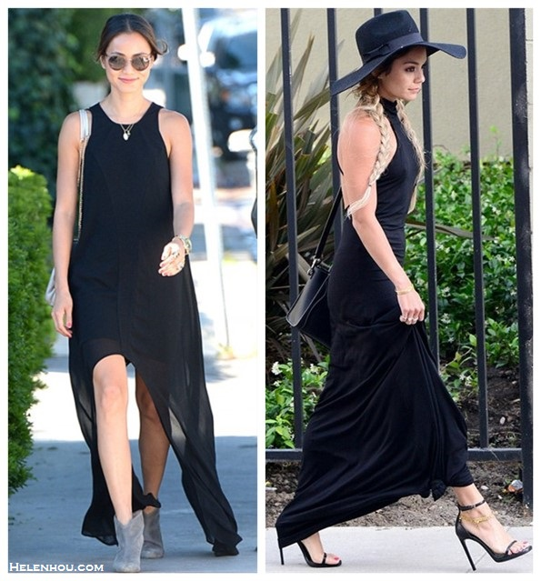 how to accessorize a black maxi dress