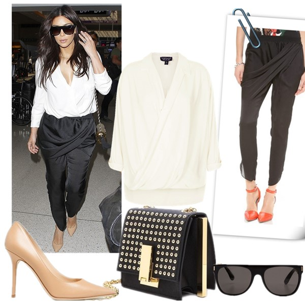 celebrities street style 2014; airport style; black and white outfits. featured:  Top: Topshop drape front blouse (also in petite here)  Pants: Faith Connexion Draped Pants (similar here & here)  Bag: ZAC Zac Posen Studded Loren Mini Cross Body Bag(on Kim Kardashian here)  Shoes: Jimmy Choo 'Abel' Pump (Exclusive Color) (great alternative here & here)  Sunglasses: Super Sunglasses Flat Top Saldatura Sunglasses (handmade in Italy!)