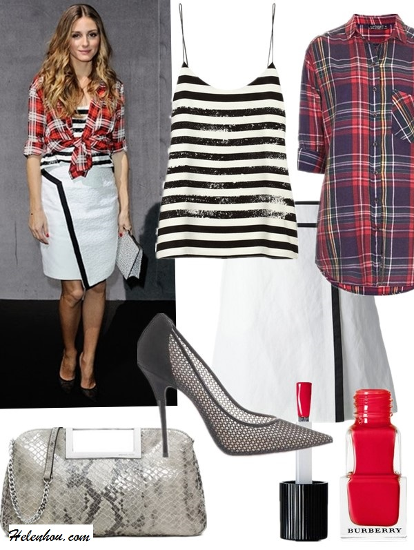 Top: Tibi Striped crepe de chine camisole (also on sale here!)  Shirt: Topshop Oversized Plaid Cotton Shirt  Skirt: Joseph 'Marcelle' A-line wrap skirt (similar here)  Shoe: Aquazzura Lulu mesh point-toe pumps (similar here & here)  Nail Polish: Burberry Make-up #300  Bag: MICHAEL Michael Kors Snake Embossed Clutch