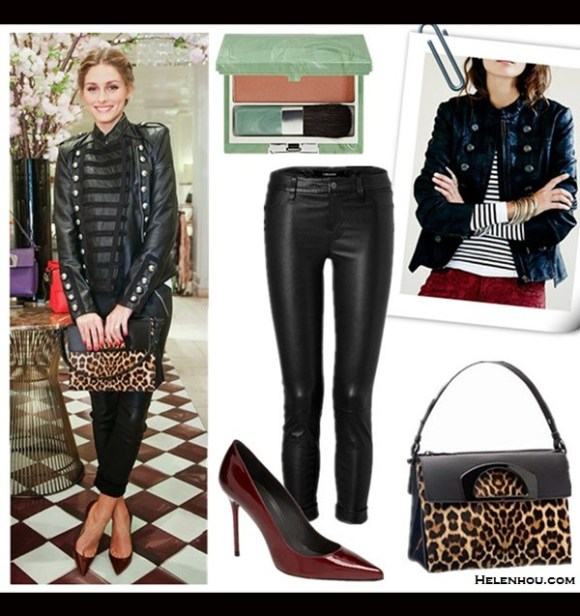 Olivia Palermo style 2014; Day To Night Outfits;  Blush: Clinique Soft-Pressed Powder Blusher in 'Honey Blush'  Jacket: free people military leather jacket  Bag: Christian Louboutin Passage Small Calf Hair Shoulder Bag, Leopard (3-in-1 bag! similar here & here)  Pants: J BRAND JEANS Cropped Leather Pants (similar here & here)  Shoe: Stuart Weitzman 'Nouveau' Pump (under $100 here; on Olivia Palermo here)