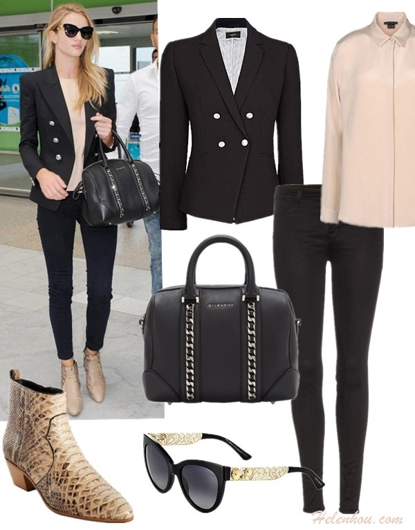 Models off Duty looks 2014; blazer and jeans;    Jacket: Mango blazer  Top: Theory LONG SLEEVE SHIRT (also love this)  Jeans: J Brand 915 Super Skinny Legging Jeans  Bag: Givenchy black leather small chain-accented Lucrezia duffel (similar here & here  here here)  Sunglasses: Elizabeth and James Fairfax Sunglasses (on Rosie Huntington here)  Prada 54mm Cat Eye Sunglasses  Shoe: Saint Laurent Python Rock Ankle Boot