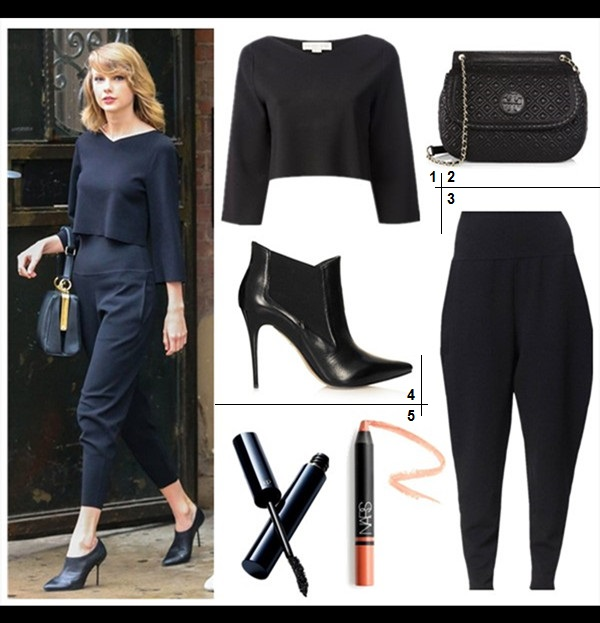 chic work outfit ideas 2014,  Featured:  1. Stella McCartney 3/4 Sleeve Crop Top (under $50 here & here)  2. Tory Burch Marion Quilted Shoulder Bag (on Taylor Swift here)  3. Stella McCartney High Yoke Peg Leg Pants (similar here here & here)  4. Topshop 'All Night' Chelsea Boot  5. Clé de Peau Beauté The Mascara & NARS Velvet Matte Lipstick Pencil