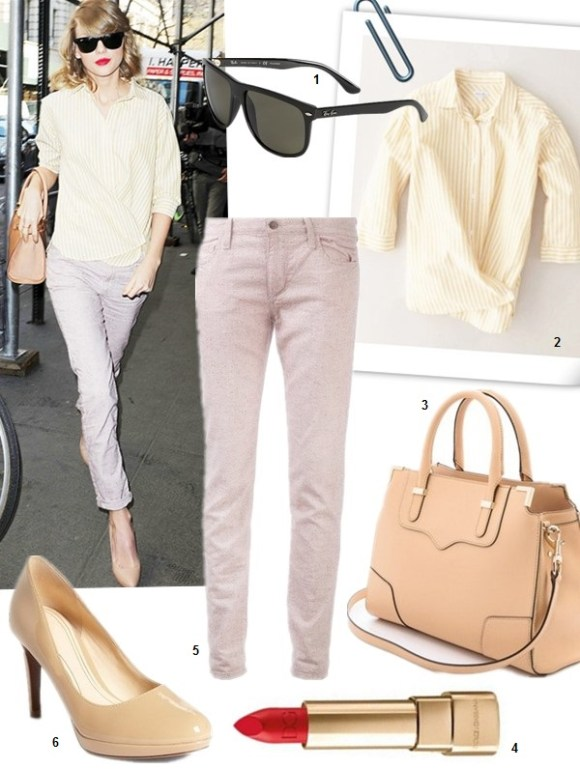 Spring/Summer Outfits 2014 Featured: 1. Ray-Ban 'High Street' 60mm Polarized Sunglasses  2. Steven Alan Crossover Shirt in Wheat Stripe  3. Rebecca Minkoff 'Amorous' Satchel (on Taylor Swift here)  4. Dolce & Gabbana Classic Cream Lipstick  5. Joe's Jeans Slim Fit jeans in Red Berry  6. Cole Haan 'Chelsea' Pump (on Taylor Swift here)