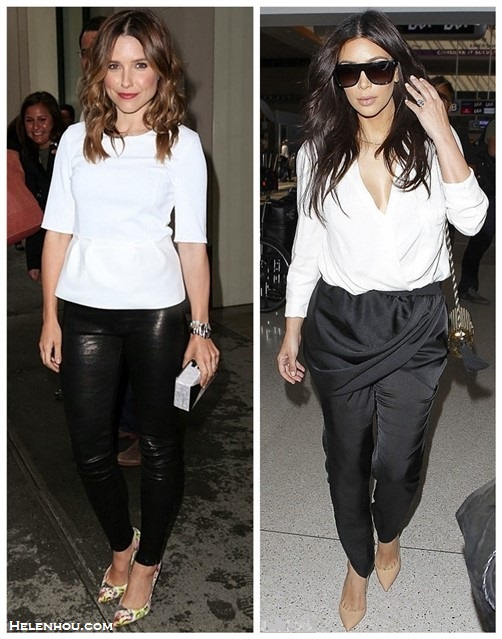 celebrities street style 2014; airport style; black and white outfits.