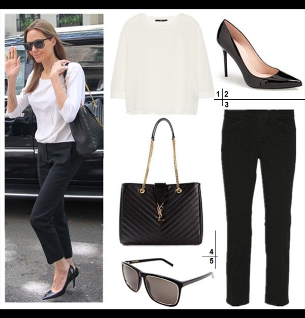 chic work outfit ideas 2014,  Featured:  1. Tibi Silk crepe de chine top  2. Stuart Weitzman 'Nouveau' Pump (under $100 here & here; investment worthy here!)  3. J Brand cotton-blend twill pants  4. Saint Laurent Classic Monogramme Tote (similar here)  5. Saint Laurent 58mm Square Sunglasses