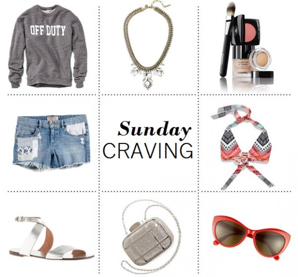 Clockwise from top left:  Sincerely Jules Off Duty Sweatshirt  Loren Hope Carina Necklace in Crystal (similar here)  Chanel The Secret of Vibrant Colour  Becca 'Mayan' Halter Bikini Top  Tory Burch 56mm Cat Eye Sunglasses   Whiting & Davis Cage Minaudiere Clutch  J.Crew Callie metallic sandals  Guess Women's 1981 High-Rise Patched Cutoff Denim Shorts