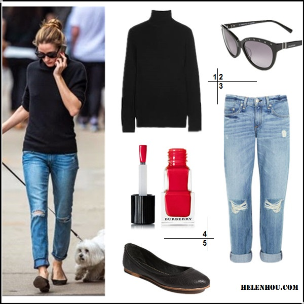 Olivia Palermo street style 2014; Parisian Chic;  1. Equipment 'Oscar' Cashmere Turtleneck (another great style on sale here!)  2. Valentino 57mm Studded Cat Eye Sunglasses  3. Rag & Bone/JEAN Boyfriend Jeans  4. Burberry Beauty Nail Polish  5. Frye 'Carson' Ballet Flat black