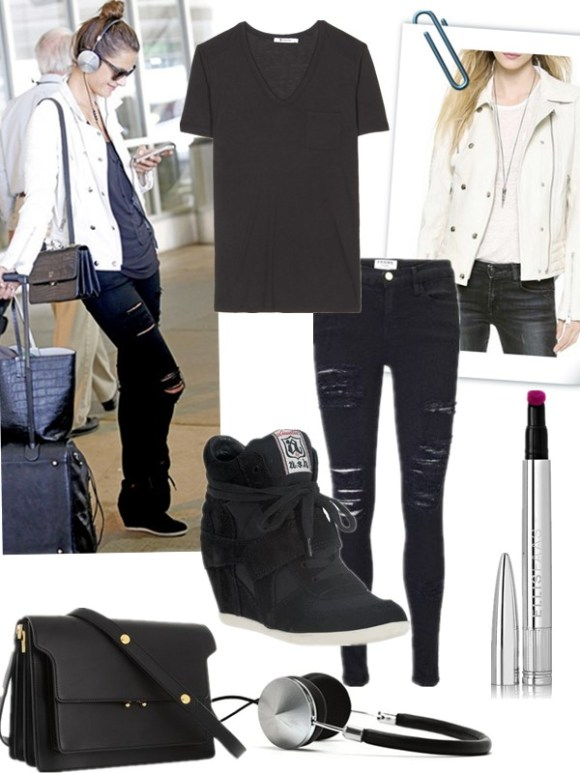 Model Off Duty Looks;  celebrities airport style 2014; vacation outfits Top: T by Alexander Wang Classic T Shirt with Pocket  Jacket: ANINE BING Moto Leather Jacket (similar here & here)  Lip: Ellis Faas creamy lips #104  Jeans: FRAME Le Color Rip Skinny Jeans (also available here)  Headphones: Frends 'Layla' Headphones (love them! One in each color please!)  Shoe: Ash Bowie Wedge Sneakers (on sale! several small sizes left here)  Bag: Marni black leather shoulder bag (great alternative here & here)