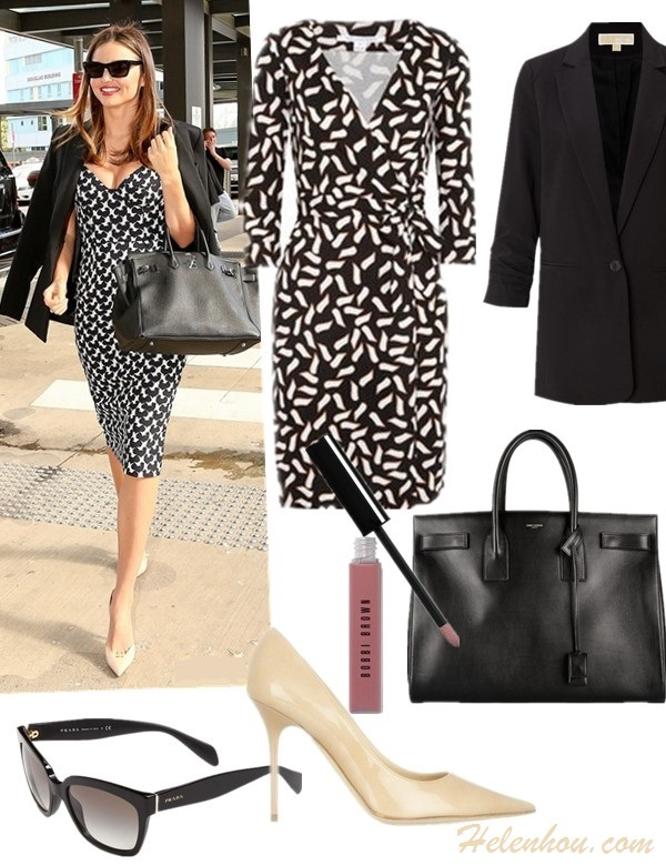 Miranda Kerr airport style 2014,  Shoe: Jimmy Choo 'Abel' Pump (similar here & here)  JIMMY CHOO Agnes patent-leather pumps  Jacket: MICHAEL Michael Kors Ruched Sleeve Boyfriend Jacket  Dress: DVF printed jersey wrap dress  Bag: Saint Laurent 'Sac De Jour' tote  (similar here & here) Lip Gloss: Bobbi Brown 'Rich Color' Lip Gloss in 'Pink Sorbet'  Sunglasses: Prada 56mm Sunglasses