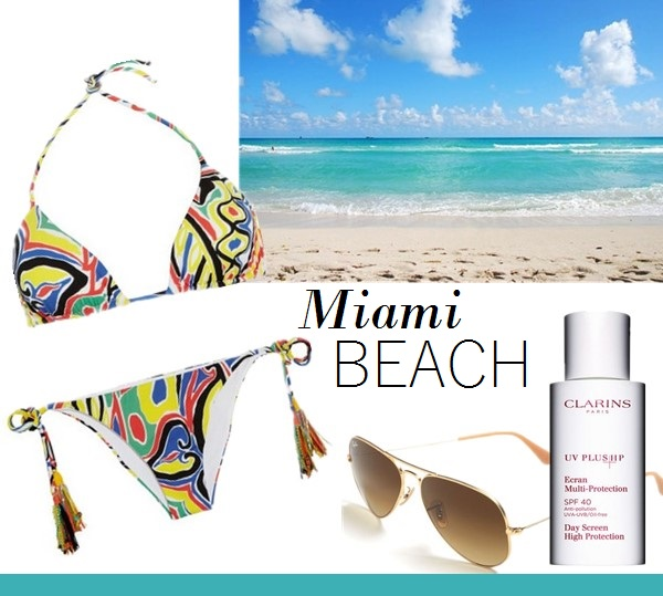 vacation outfit ideas From left to right:  Emamó Printed triangle bikini  Ray-Ban 'Original Aviator' 58mm Sunglasses  Clarins 'UV Plus HP' Multi-Protection Day Screen SPF 40
