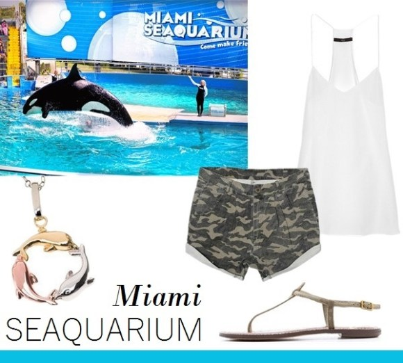 vacation outfit ideas From left to right:  1Target 14Kt. Gold and Sterling Silver Tri Color Dolphin Pendant - Tricolor (18)  2One Teaspoon Magnolia Military Shorts  3Tibi Silk crepe de chine camisole (also here)  4Sam Edelman Gigi Thong Sandals