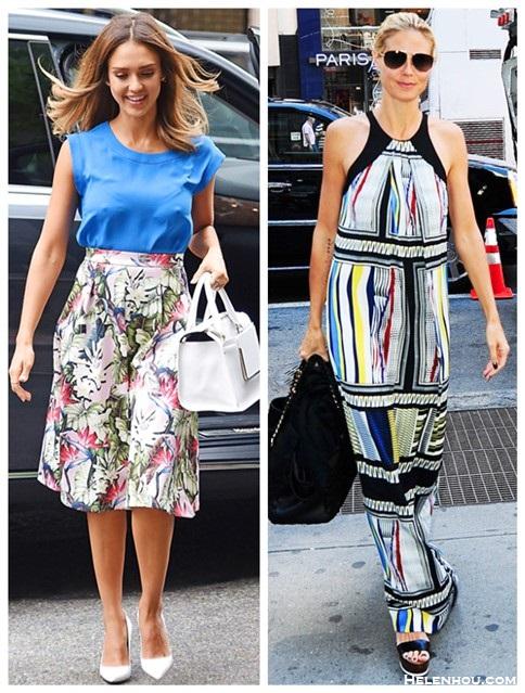 Summer Outfit Ideas 2014; How to wear floral skirts/dresses;  Celebrity Street Style;