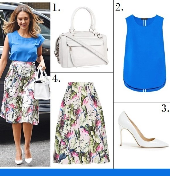 Summer Outfit Ideas 2014; How to wear floral skirts/dresses;  Celebrity Street Style;  Featured:   1. Rebecca Minkoff MAB Mini Satchel (or this one)  2. Calvin Klein Collection Trandem stretch-jersey top (great alternative here!) 3. Manolo Blahnik 'BB' Pointy Toe Pump (similar here)  4. Topshop TROPICAL SCUBA MIDI SKIRT (also here)